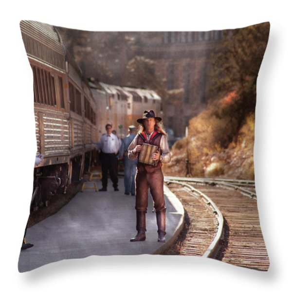 Music - Accordion - The Guy And The Squeeze Box Throw Pillow by Mike Savad