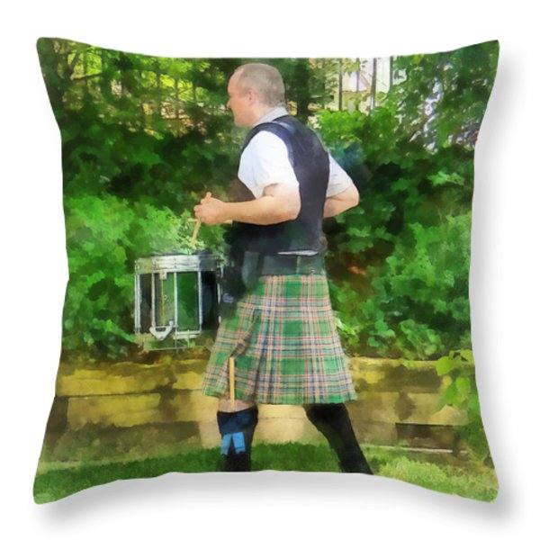 Music - Drummer In Pipe Band Throw Pillow by Susan Savad
