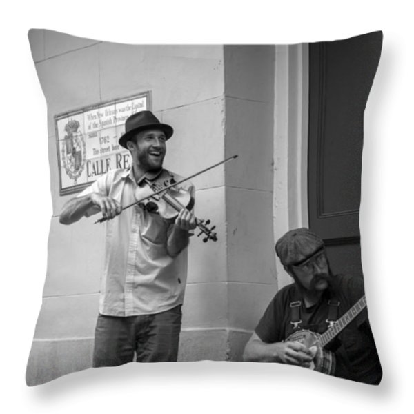 Music in the French Quarter Throw Pillow by David Morefield