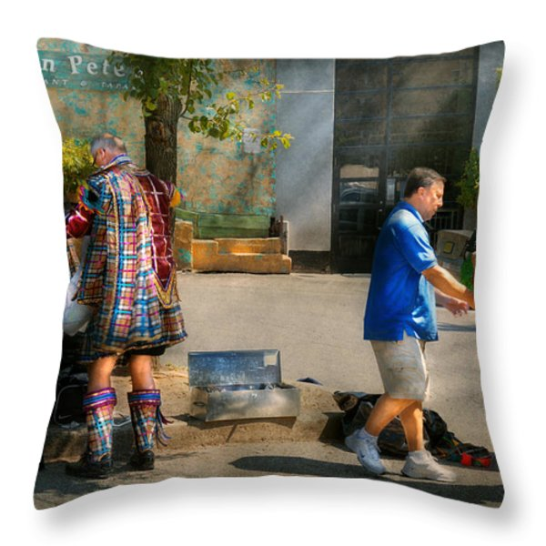 Music - Mummers preperation Throw Pillow by Mike Savad