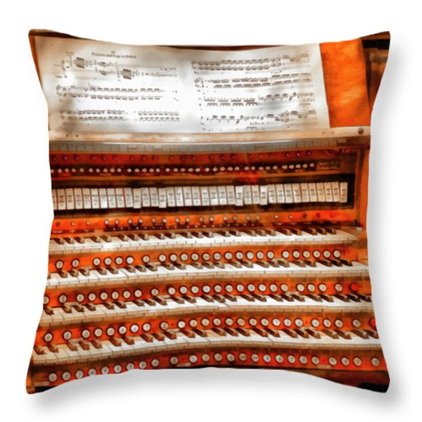 Music - Organist - The Pipe Organ Throw Pillow by Mike Savad