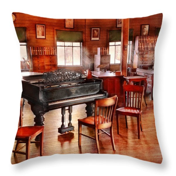 Music - Piano - The Grand Piano Throw Pillow by Mike Savad