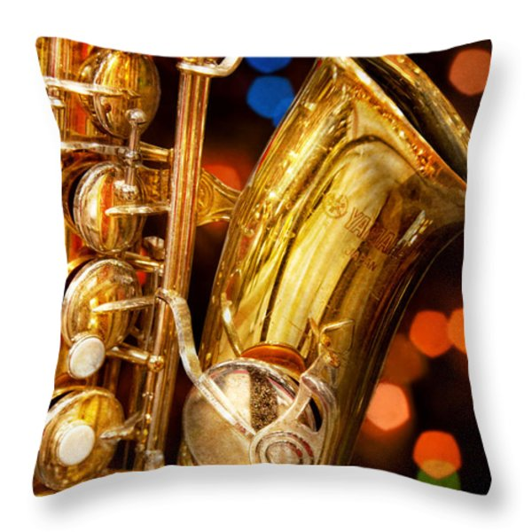 Music - Sax - Very Saxxy Throw Pillow by Mike Savad
