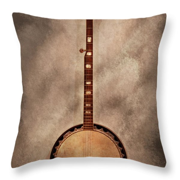 Music - String - Banjo Throw Pillow by Mike Savad