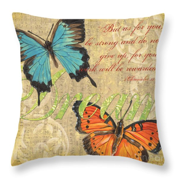 Musical Butterflies 1 Throw Pillow by Debbie DeWitt