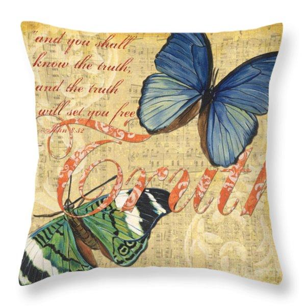 Musical Butterflies 3 Throw Pillow by Debbie DeWitt