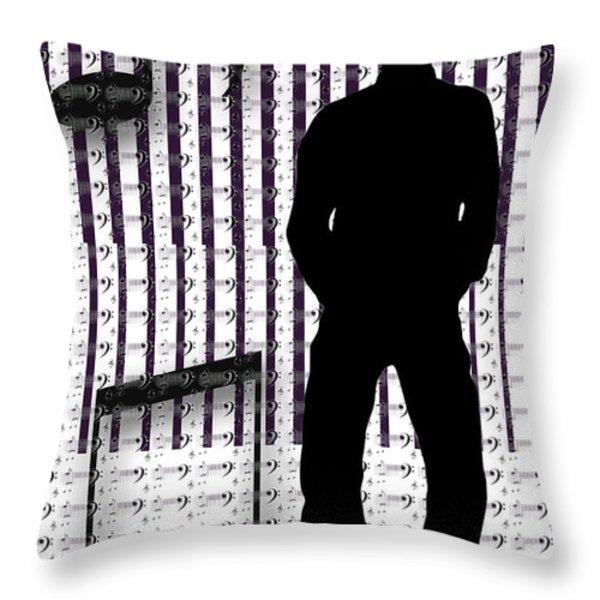 Musical Man Silhouette Throw Pillow by Susan Leggett