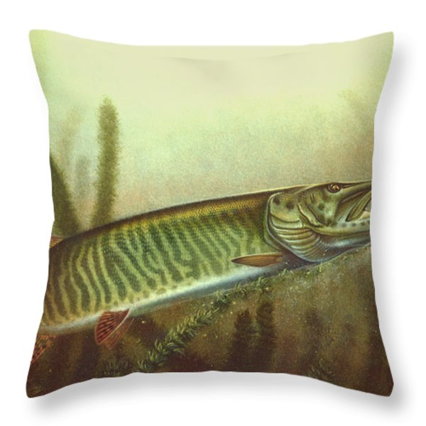 Muskie and Spinner Bait Throw Pillow by Jon Q Wright