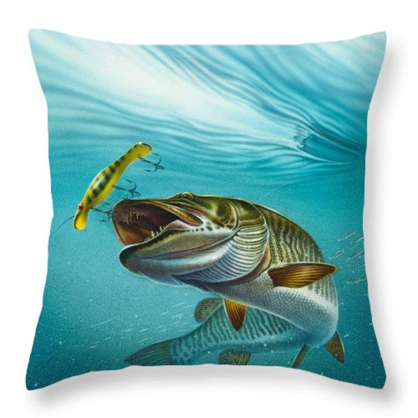 Muskie Troll Throw Pillow by Jon Q Wright