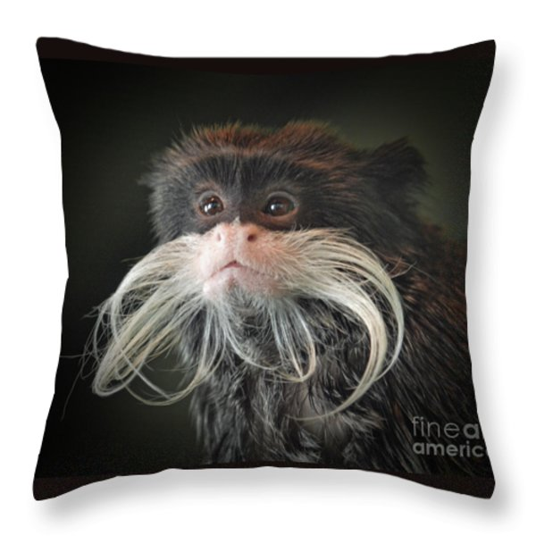 Mustached Monkey Emperor Tamarin IIi Throw Pillow by Jim Fitzpatrick