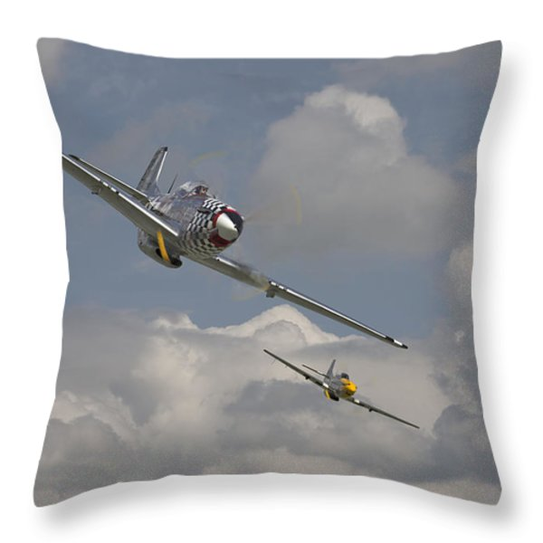 Mustang Pair Throw Pillow by Pat Speirs