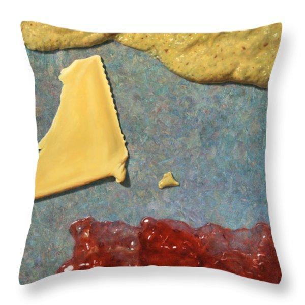 Mustard  Cheese Jam Throw Pillow by James W Johnson