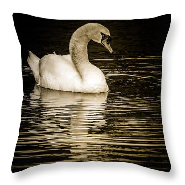 Mute Swan II Throw Pillow by Jim Nelson