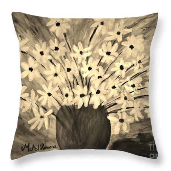 My Daisies Sepia version Throw Pillow by Ramona Matei