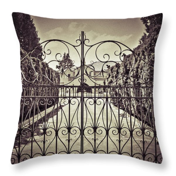 My Home Is My Fortress Vintage Throw Pillow by Eti Reid
