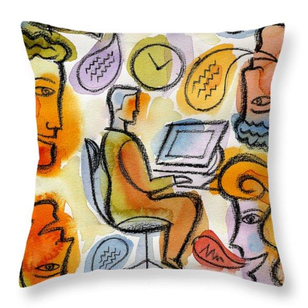 My Office Throw Pillow by Leon Zernitsky