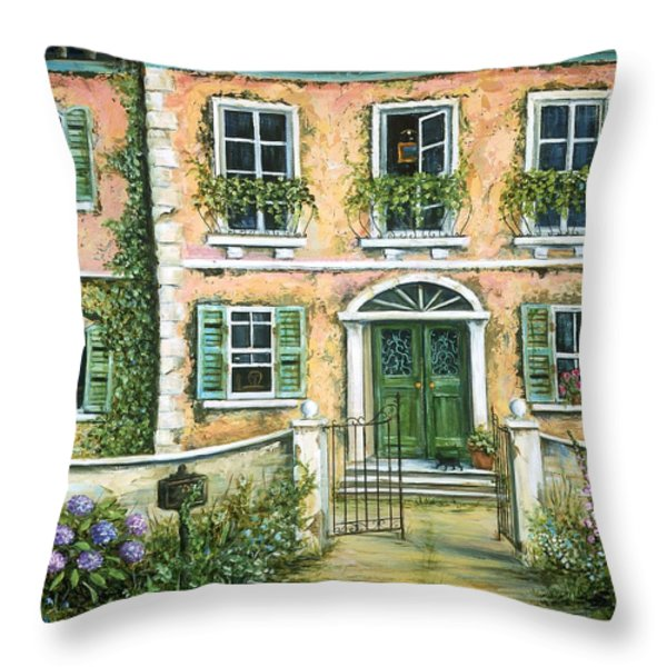 My Pink Italian Villa Throw Pillow by Marilyn Dunlap