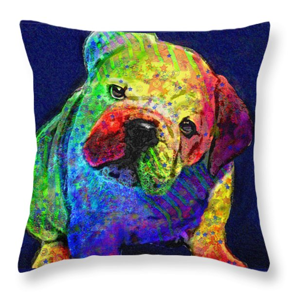 my psychedelic bulldog Throw Pillow by Jane Schnetlage