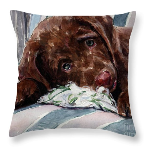 My Rope Toy Throw Pillow by Molly Poole