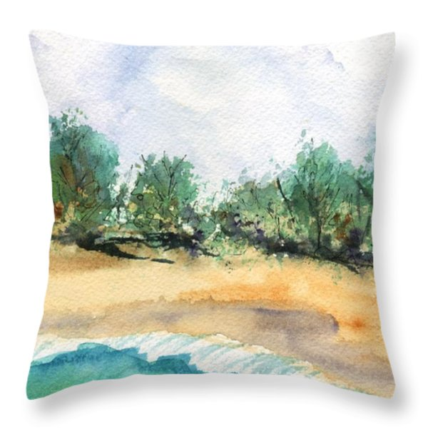 My Secret Beach Throw Pillow by Marionette Taboniar