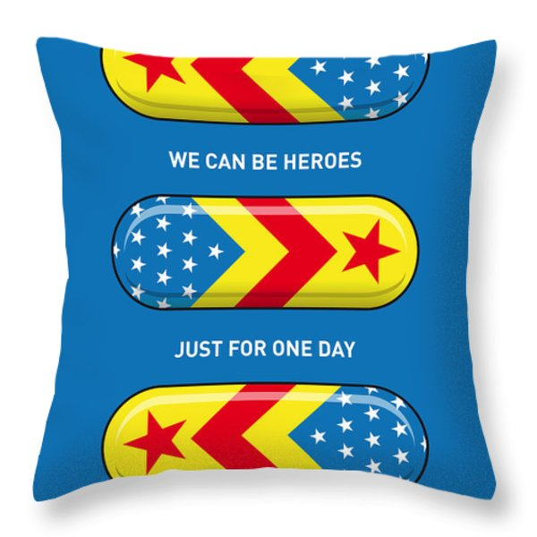 My SUPERHERO PILLS - Wonder woman Throw Pillow by Chungkong Art
