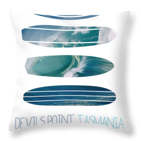 My Surfspots poster-5-Devils-Point-Tasmania Throw Pillow by Chungkong Art