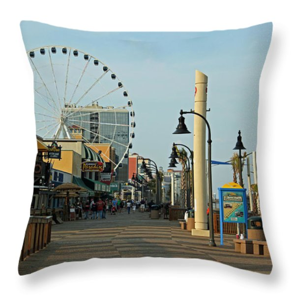 Myrtle Beach Boardwalk Throw Pillow by Suzanne Gaff