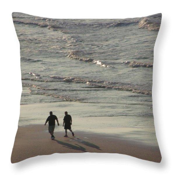 Myrtle Beach Walking Buddies Throw Pillow by Gail Matthews