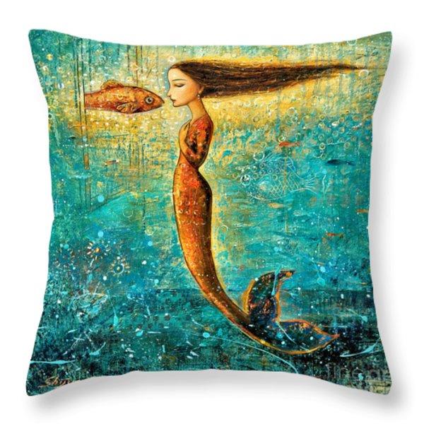 Mystic Mermaid IV Throw Pillow by Shijun Munns