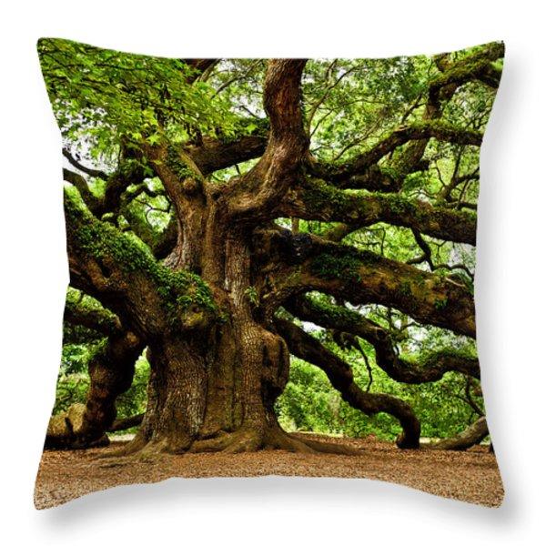 Mystical Angel Oak Tree Throw Pillow by Louis Dallara