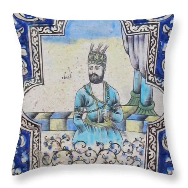 Nader Shah Qajar Ceramic Style Persian Art Throw Pillow by Persian Art
