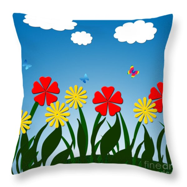 Naive Nature Scene Throw Pillow by Gaspar Avila