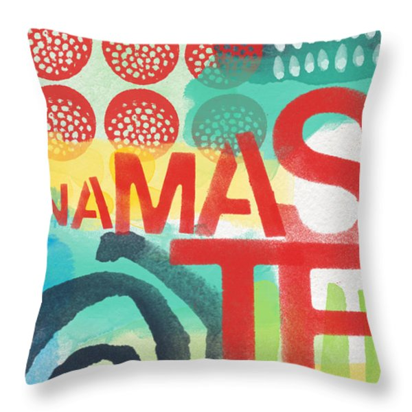Namaste- Contemporary Abstract Art Throw Pillow by Linda Woods