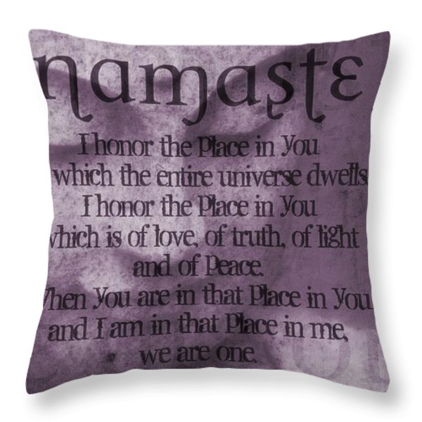 Namaste Pink Throw Pillow by Dan Sproul