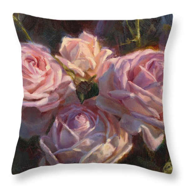 Nana's Roses Throw Pillow by Karen Whitworth