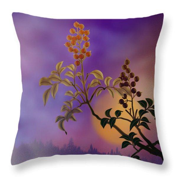 Nandina The Beautiful Throw Pillow by Bedros Awak