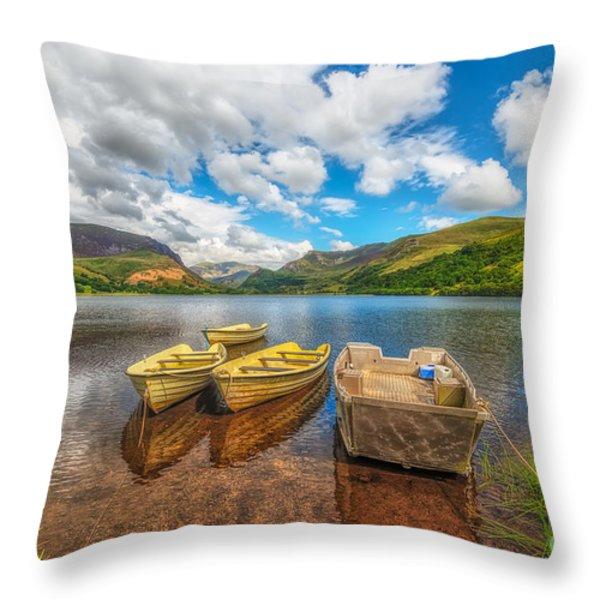Nantlle Lake Throw Pillow by Adrian Evans
