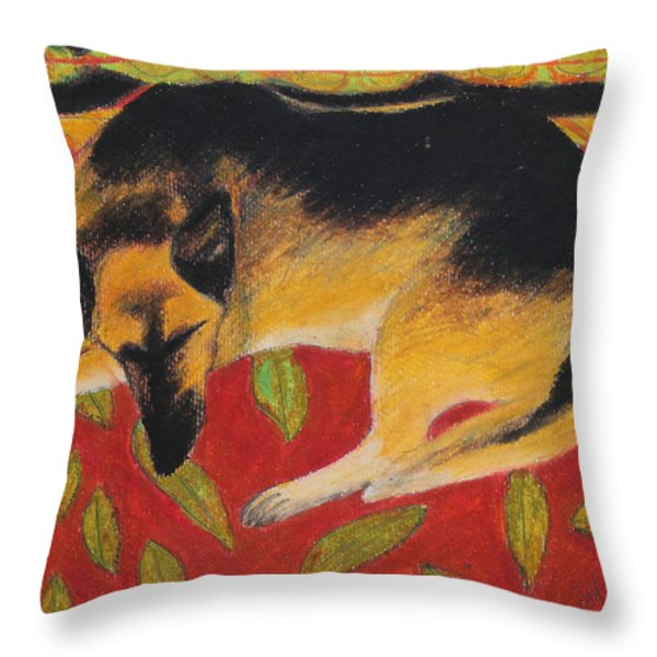 Napping Throw Pillow by Jeanne Fischer