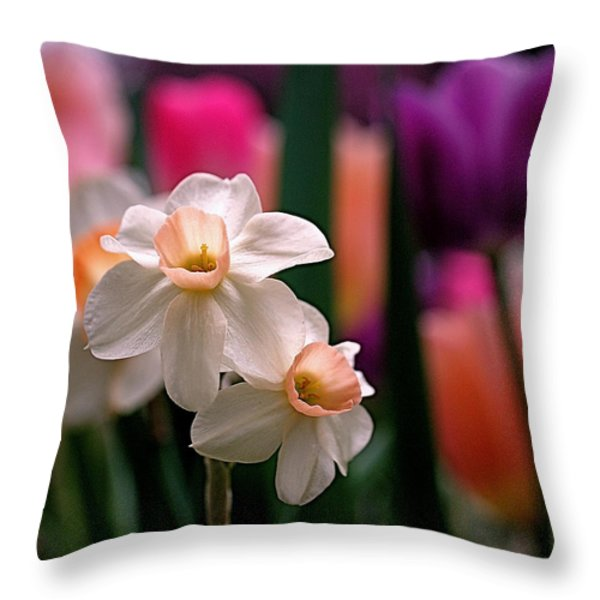 Narcissus and Tulips Throw Pillow by Rona Black