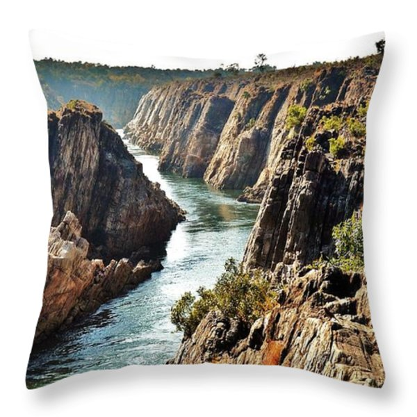 Narmada River Gorge At Jabalpur India Throw Pillow by Kim Bemis