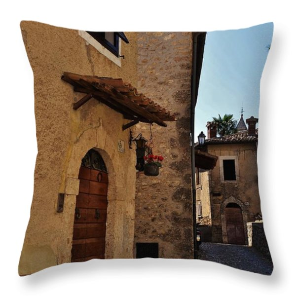 Narrow street in Italian Village Throw Pillow by Dany  Lison