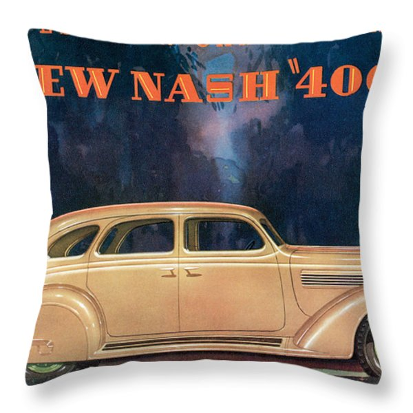 Nash 400 - Vintage Car Poster Throw Pillow by World Art Prints And Designs