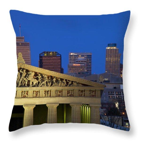 Nashville Parthenon Throw Pillow by Brian Jannsen