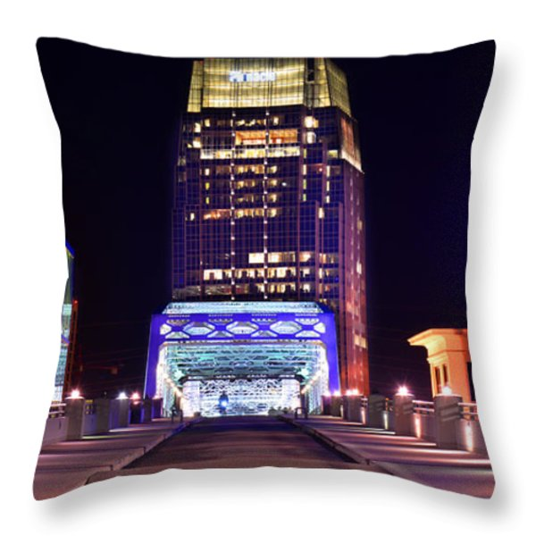 Nashville Sight Night Skyline Pinnacle Panorama Color Throw Pillow by Jon Holiday