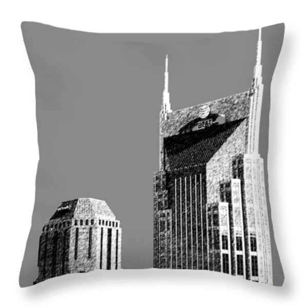 Nashville Skyline AT and T Batman Building - Pewter Throw Pillow by DB Artist