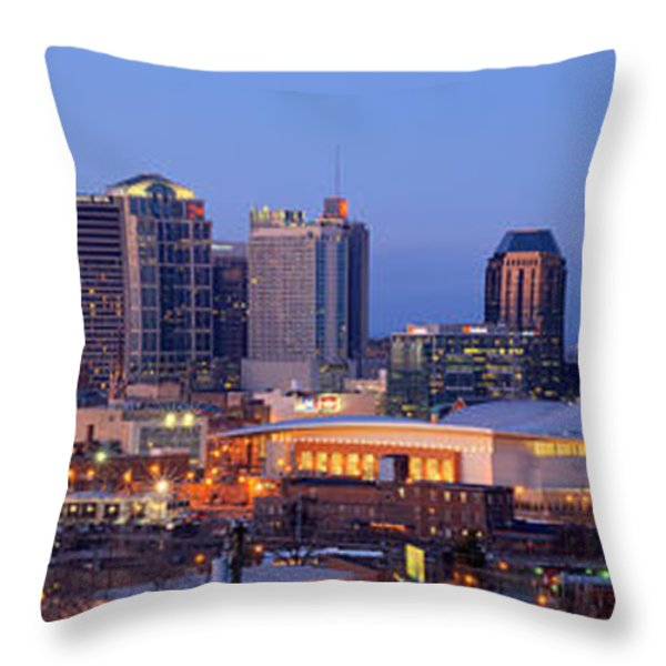 Nashville Skyline at Dusk Panorama Color Throw Pillow by Jon Holiday