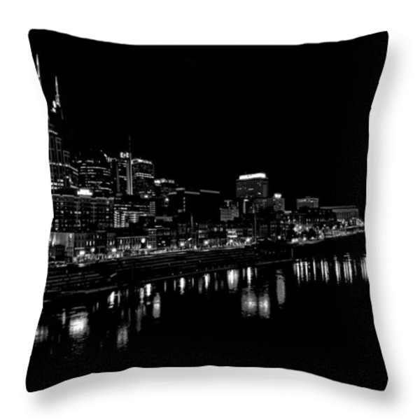 Nashville Skyline At Night In Black And White Throw Pillow by Dan Sproul