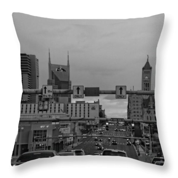 Nashville Skyline In Black And White Throw Pillow by Dan Sproul
