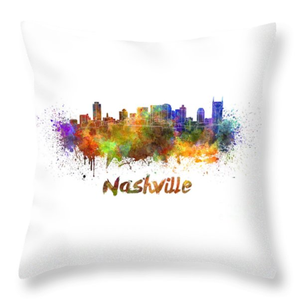 Nashville Skyline In Watercolor Throw Pillow by Pablo Romero