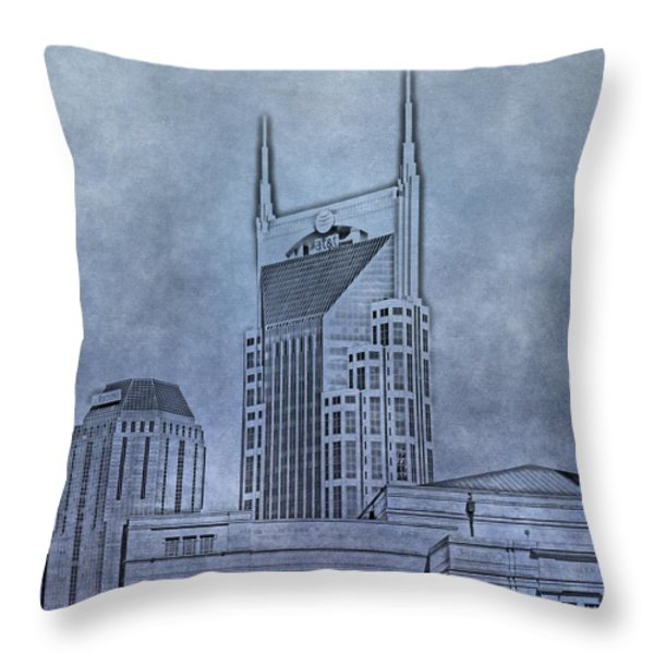 Nashville Skyline Sketch Throw Pillow by Dan Sproul